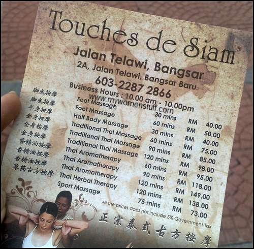 touches siam2 Touches de Siam : A little bit of Thai Massage in Bangsar Kuala Lumpur