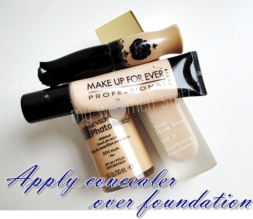 concealer foundation Tip: Apply concealer after foundation and cut makeup time by half