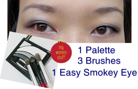 smokey eye2 Tip: Very Easy Eyeshadow Application with 3 brushes and 1 palette