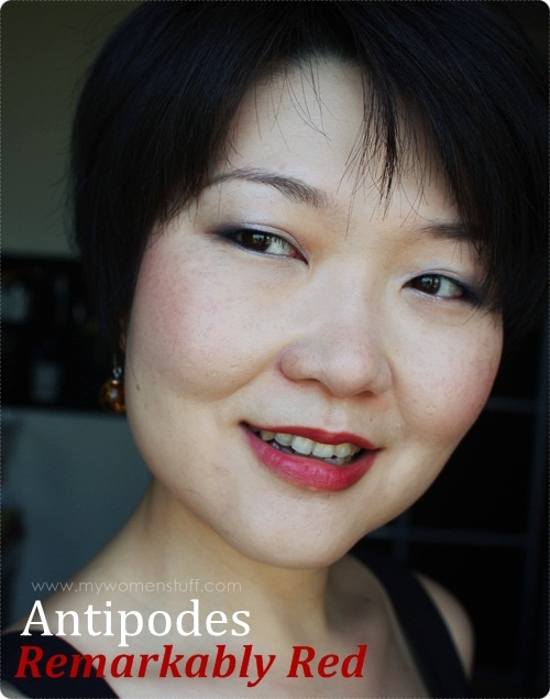 antipodes lipstick Exploring The Hobbit connection with the Antipodes Aroha Natural lipstick in Remarkably Red